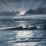 Shimmering Waves - Black and White Full Moon over the Ocean Painting