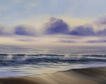Life Celebration - Large Realistic Sunrise over the Ocean Oil Painting on Canvas