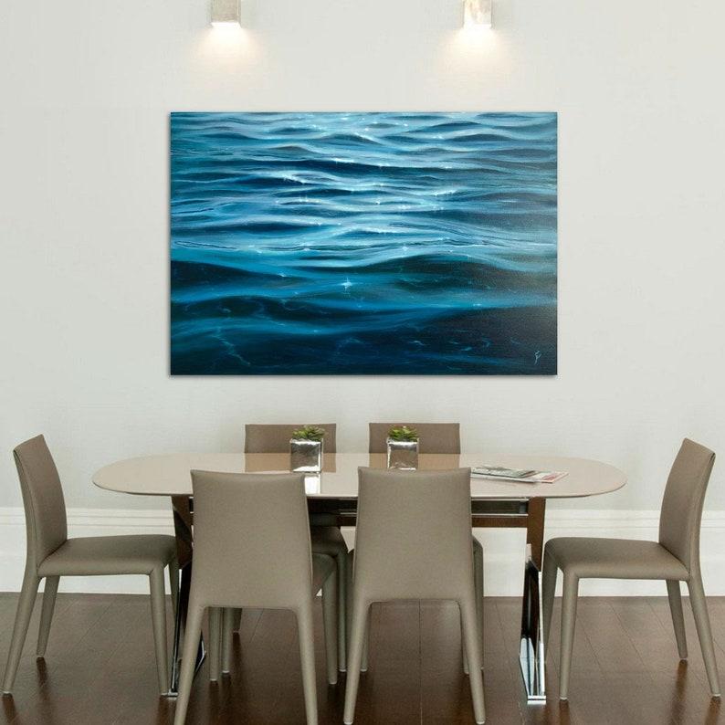 Shimmering Waves  Large Original Crystal Clear Water Oil image 0