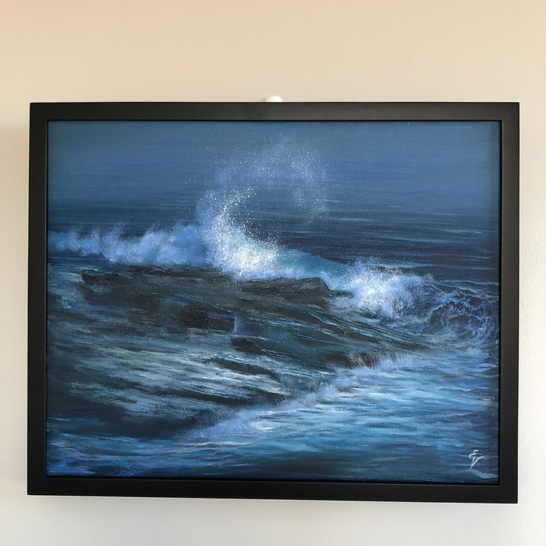 Resistance  Original Stormy Ocean Painting oil on canvas image 0