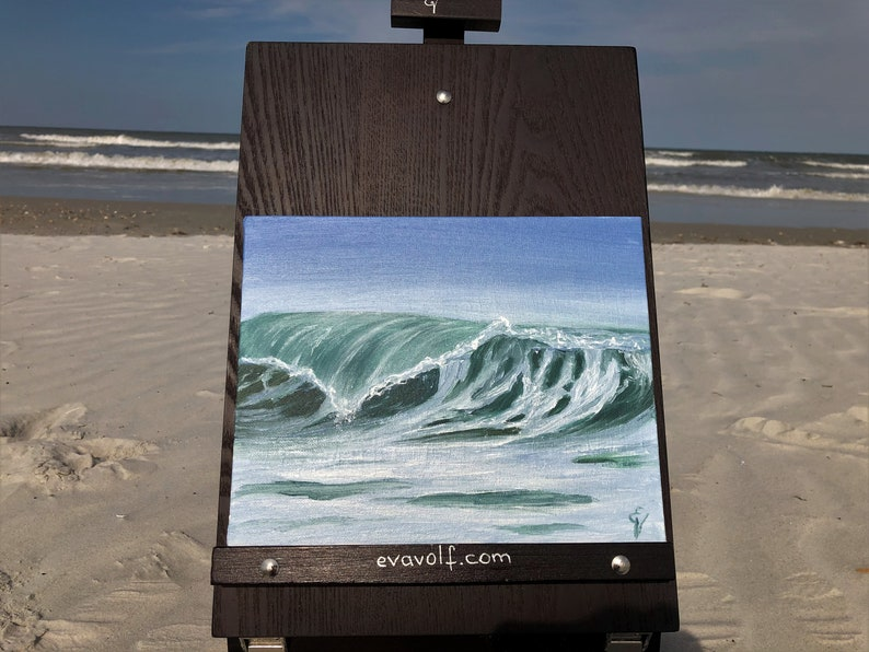 Anew  Plein Air Ocean Waves Oil Painting on Canvas 8x10 image 0