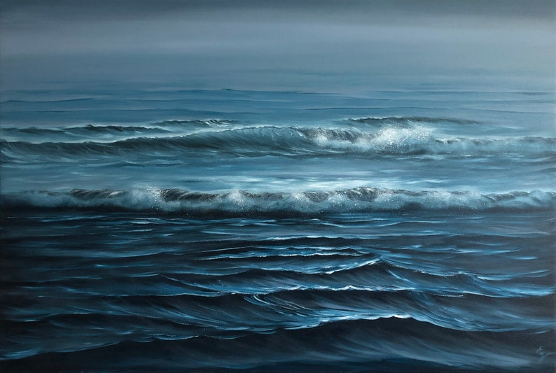 Frozen in Time  Large Original Blue Twilight Ocean Painting image 0