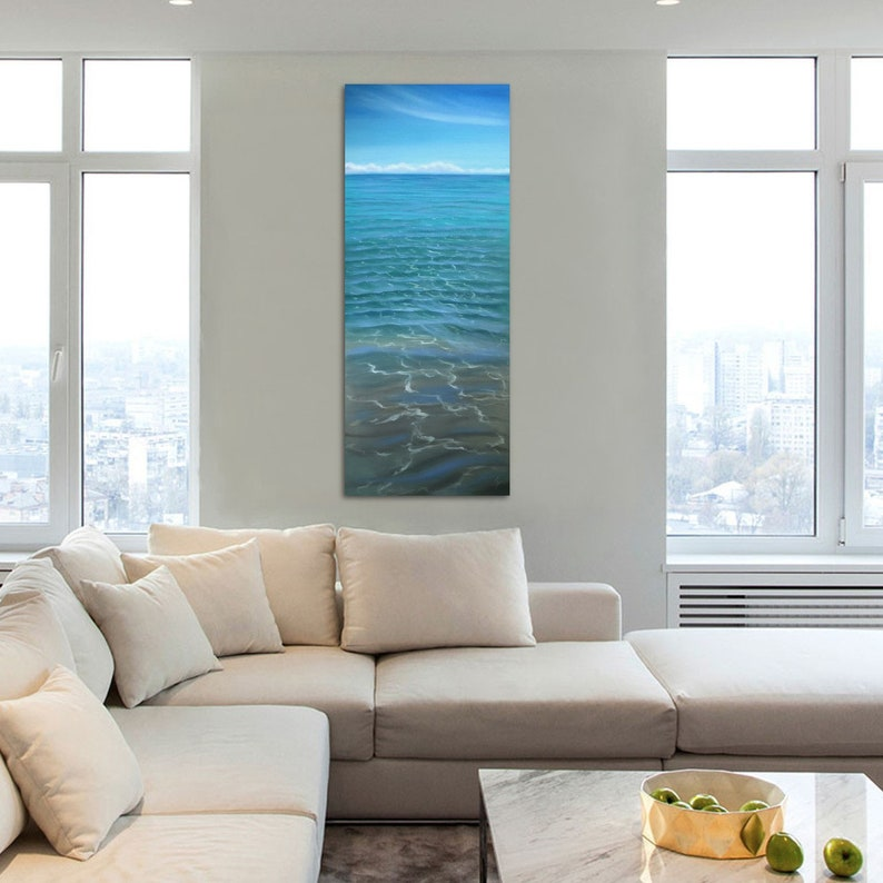 The Color Of Water  Large Original Crystal Clear Ocean Oil image 0