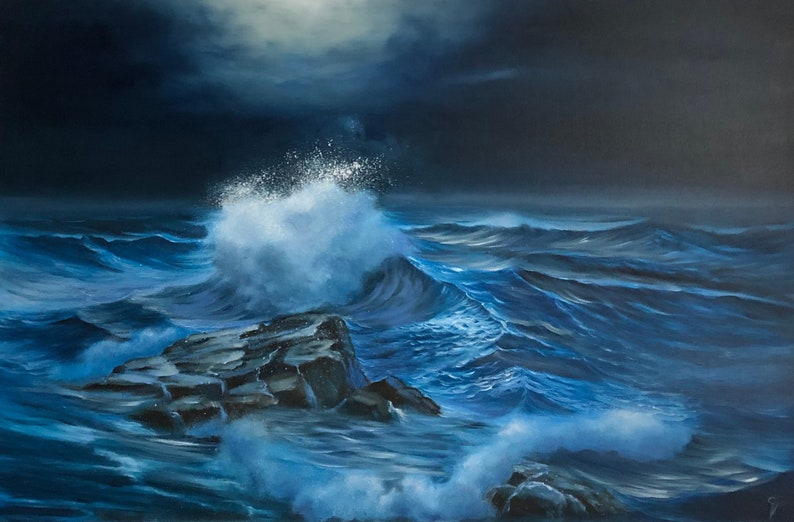 Light in the Dark  Full Moon over the Ocean Seascape Painting image 0