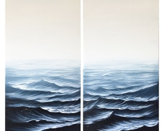 Monochromatic Indigo Ocean Waves Art Your Wave is Coming