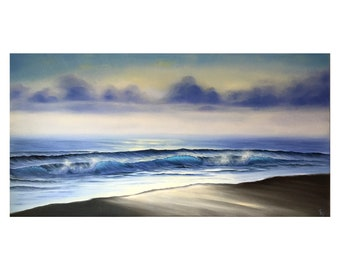 Tranquil Horizons - Large Ocean Sunrise Painting