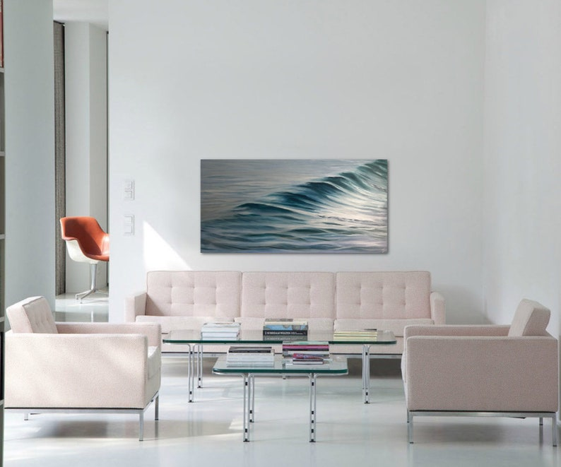Silver Surf  Large Original Ocean Painting on Canvas Ready image 0