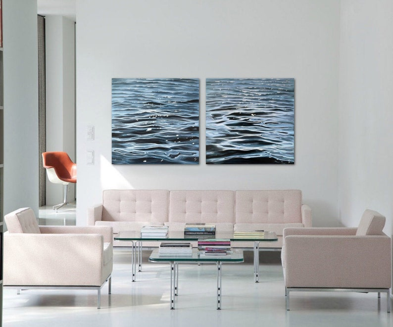 The Flow Diptych  Large Original Contemporary Water Painting image 0