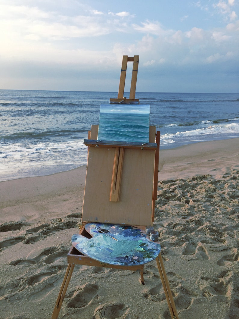 Rolling Ashore  Plein Air Ocean Waves Oil Painting on Canvas image 0