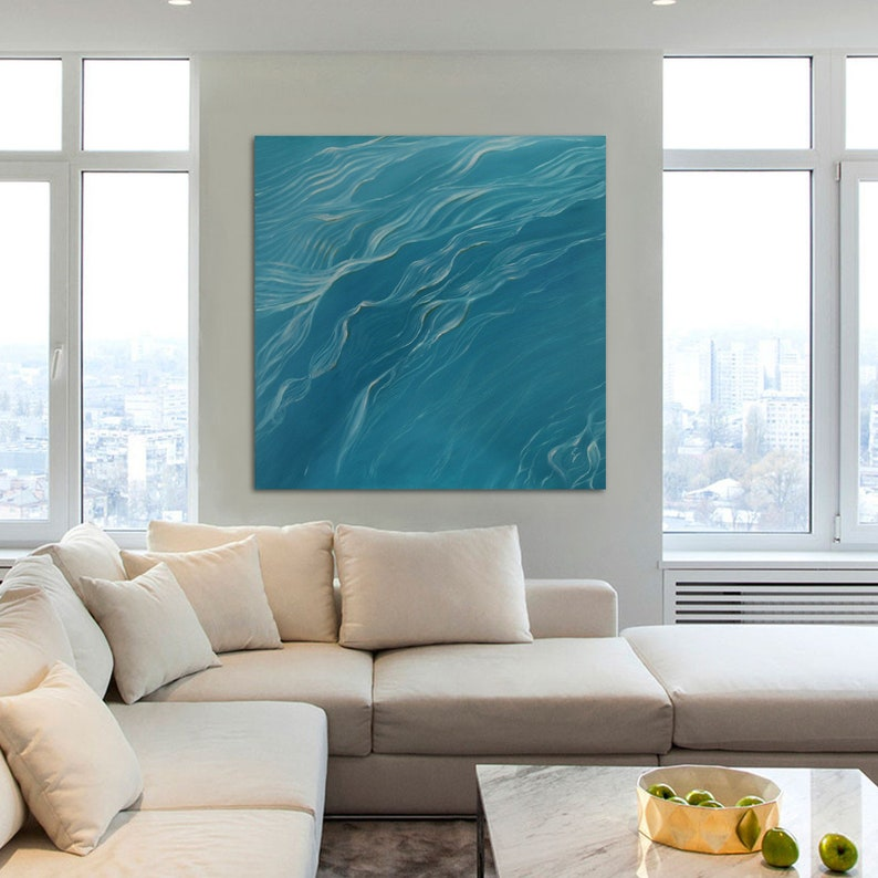 Nature's Rhythm  Large Original Teal Crystal Clear Water image 0