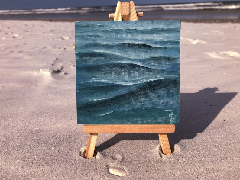 Thirty Waves Of Summer 3  Original Mini Ocean Oil Painting image 0