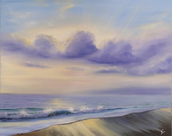 Light Breaking Through - Large Realistic Seascape Oil Painting on Canvas