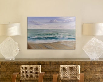 Among the Ocean Waves - Large Florida Coast Oil Painting on Canvas