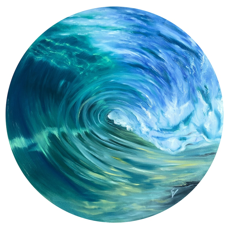 Green Room  Original Ocean Wave Oil Painting on Round Canvas image 0