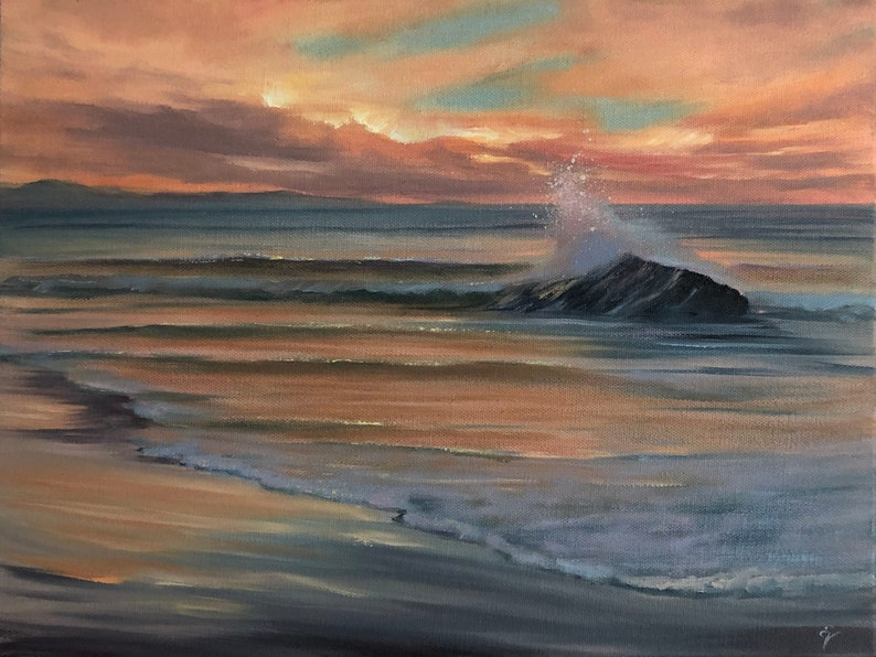 It Is But A Dream  Original Sunrise at the Beach Oil Painting image 0