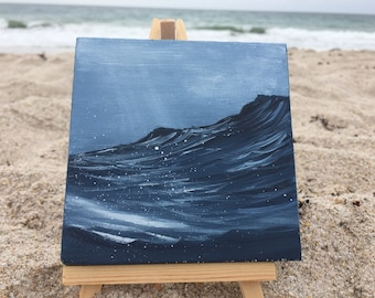 Dark and Deep - Small Indigo Ocean Wave Oil Painting on Canvas with Mini Easel