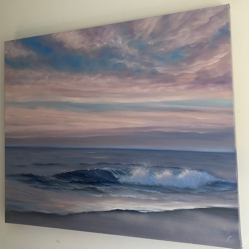 Here and Now  Original Realistic Sunset at the Beach Oil image 0