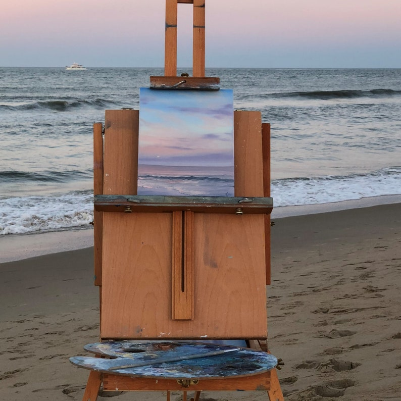Moonrise  Framed Coastal Sunset on the Beach Plein Air image 0