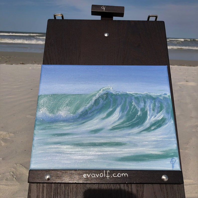 Standing Tall  Plein Air Ocean Waves Oil Painting on Canvas  image 0
