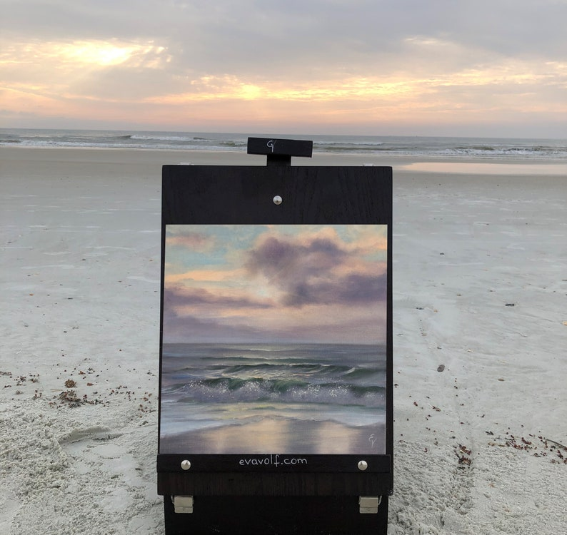 Go With The Wind  Plein Air Sunrise on the Beach Painting image 0