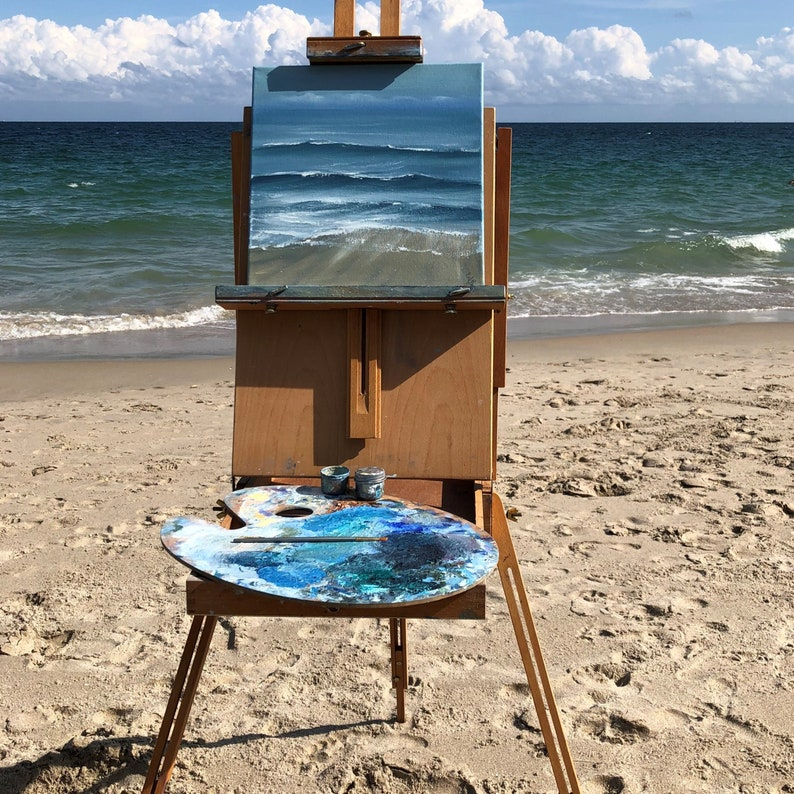 Abstract Seascape  Blue Ocean Waves on the Beach Painting image 0