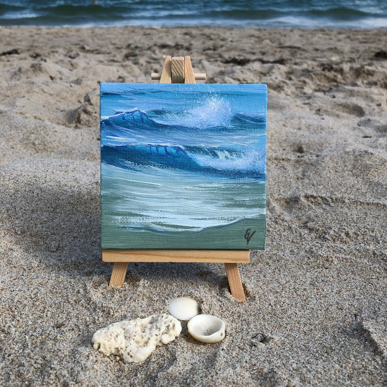 Ocean Gem 3  Small Original Seascape Oil Painting on Canvas image 0