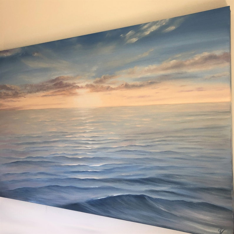 Revival  Realistic Ocean at Sunrise Oil Painting on Canvas image 0