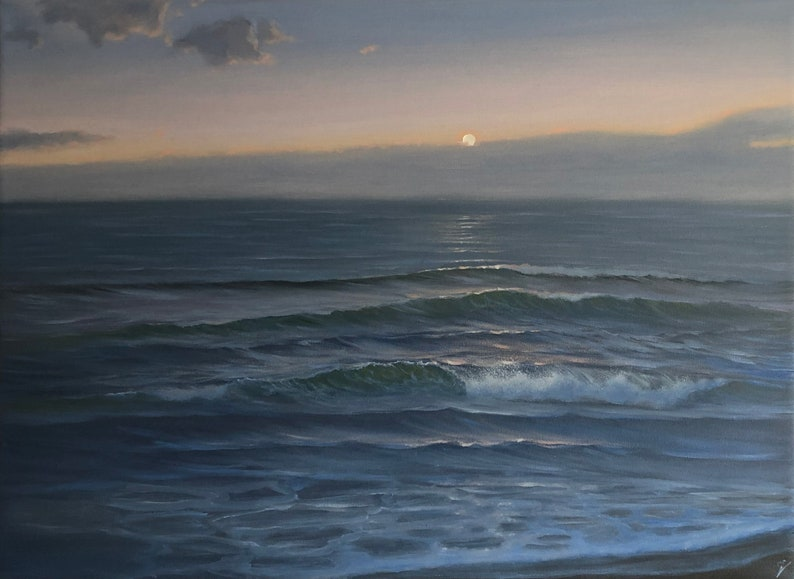 Every Day Counts  Large Sunset over the Ocean Oil Painting on image 0