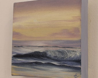 Fading Light - Small Sunset on the Beach Oil Painting on Canvas 6x6 inches