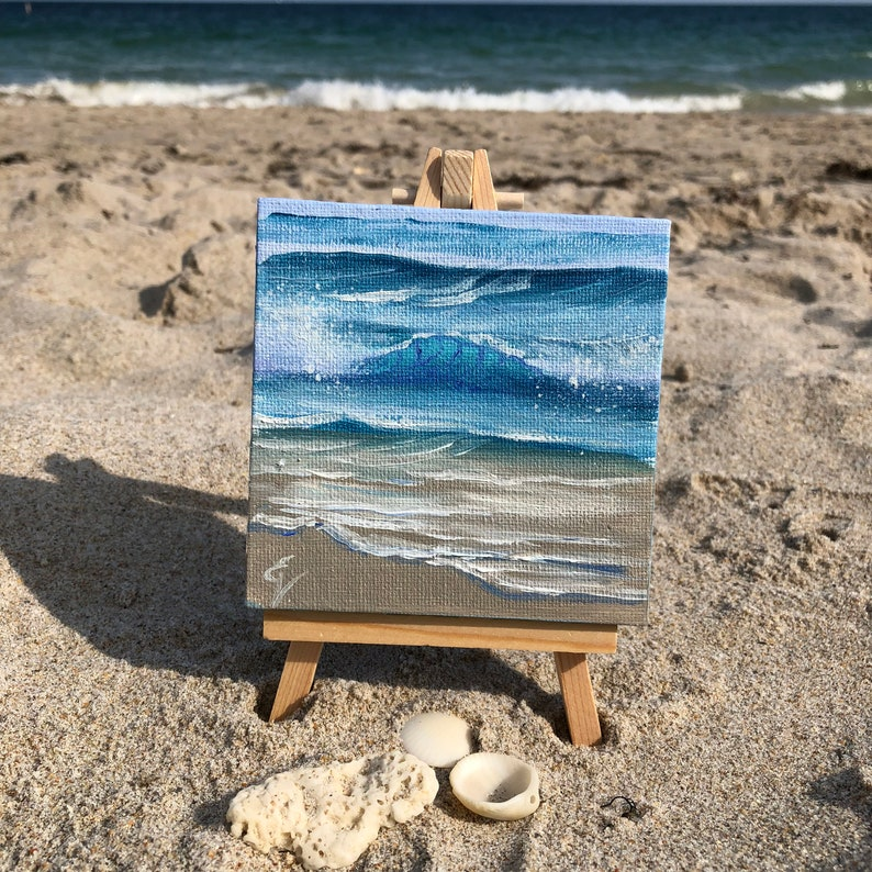 Thirty Waves Of Summer XVI  Small Original Wave Oil Painting image 0