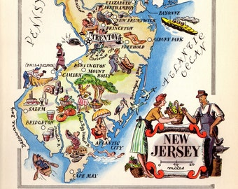 1940's Vintage NEW JERSEY Picture Map Pictorial State Map Print  Gallery Wall Art Cartoon Map Collector Gift for Traveler Wedding Vacation