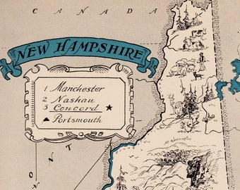 30's NEW HAMPSHIRE Picture Map Pictorial New Hampshire State Cartoon Map Print Gallery Wall Art Library Office Decor  Wedding Birthday Gift