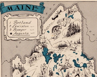 30's Vintage MAINE Picture Map Pictorial Maine State Cartoon Map Print Travel Map Gallery Wall Art Library Office Decor  Birthday Gift