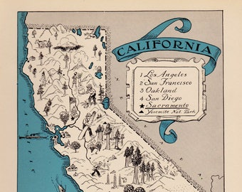 1930's Vintage CALIFORNIA Picture Map Pictorial State Cartoon Map Print Gallery Wall Art  Map Collector Gift For Traveler Birthday Wedding