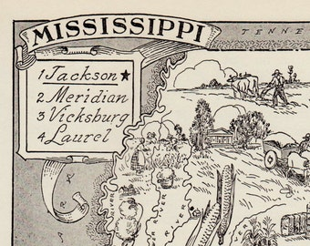 50's Vintage MISSISSIPPI Picture Map of Mississippi State Map Print  Gallery Wall Art Map Collector Gift For Traveler Birthday Wedding