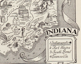 50's INDIANA Picture Map Pictorial State Map Print Black and White Gallery Wall Art Library Office Decor Gift for Birthday Wedding