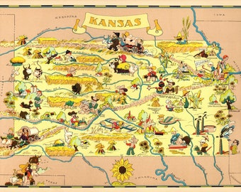 Kansas decor etsy 1930s vintage kansas picture map state cartoon map print gallery wall art map collector gift for traveler wedding birthday gift rt junglespirit Image collections