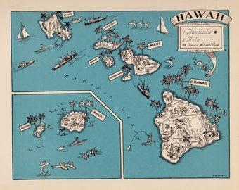 Hawaii map art | Etsy