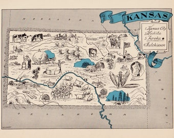 Kansas decor etsy 30s vintage kansas picture map pictorial state cartoon map print gallery wall art library office decor map collector wedding birthday gift junglespirit Image collections
