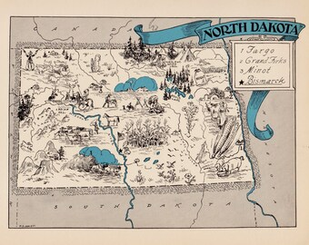 Vintage Map USA North Dakota Map Personalized Art North Dakota Canvas Print North Dakota Vintage Print Wall Decor Nursery Art