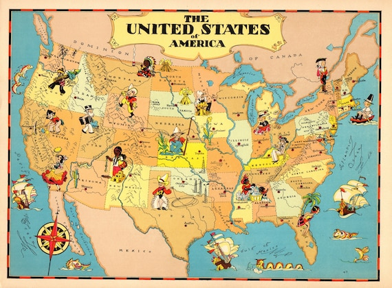 1930's Vintage UNITED STATES Picture Map Cartoon Map usa | Etsy