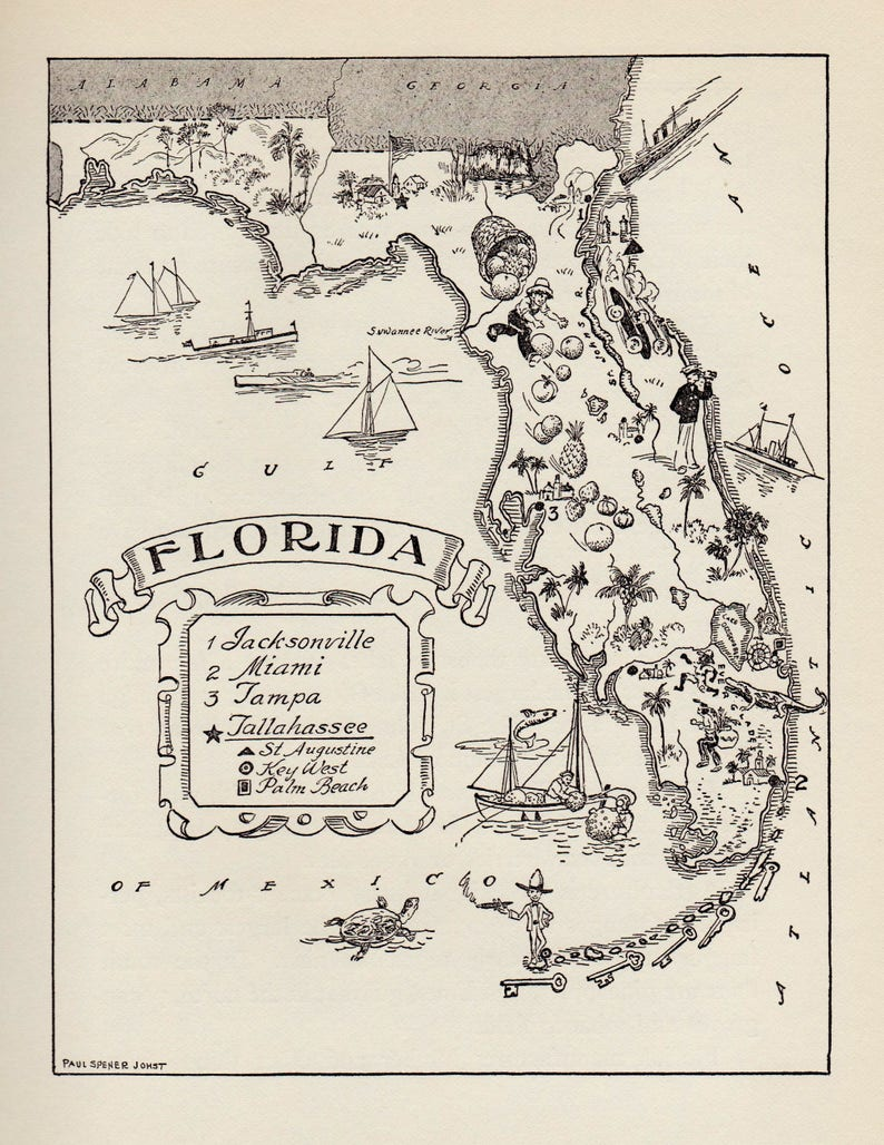 1950 S Florida Picture Map Pictorial State Map Print Black Etsy