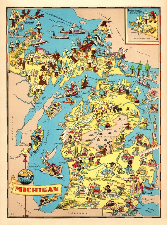 1930 s vintage michigan state map cartoon kaart print etsy etsy