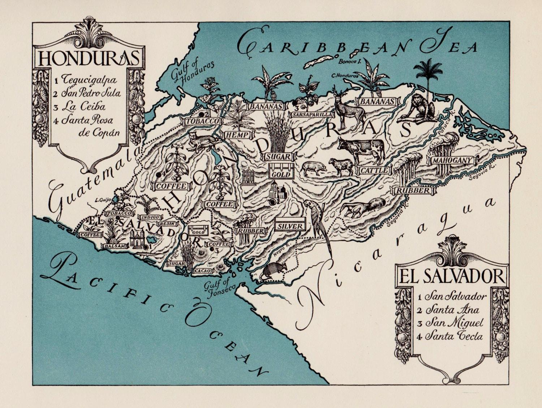 Pictorial HONDURAS Map El Salvador Picture Map Print 1940s | Etsy