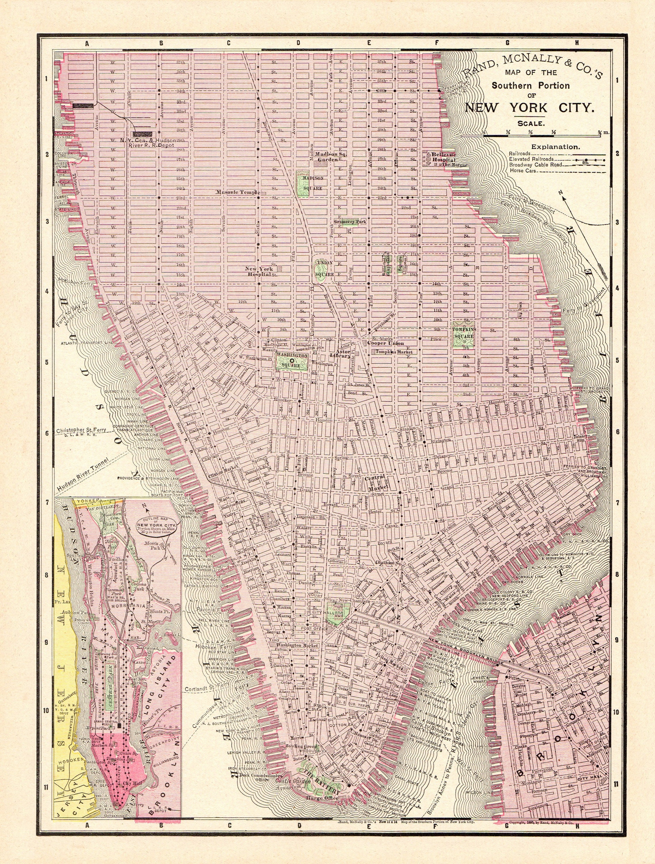 It is an image of Printable Map of Manhattan for white