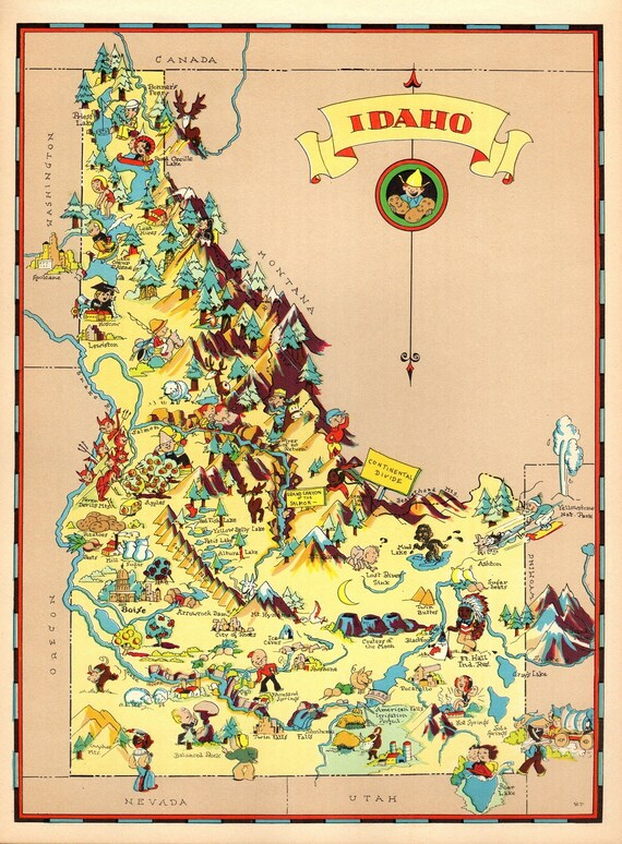 1930's Vintage Idaho State Map Cartoon Map Print Gallery Wall Art Home on illinois map fun, illinois rt 66 map, illinois map 3d, illinois map western, illinois map book, illinois map outline, illinois map logo, illinois postcard, illinois map funny, illinois usa, illinois map crime, illinois map coloring page, illinois map joke, illinois map drawing, illinois on america, illinois black and white clip art, illinois map black, illinois map vintage, midwest cartoon, illinois map painting,