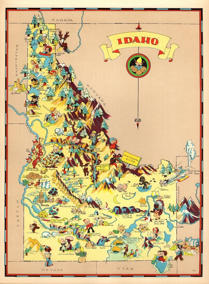 1930's Vintage Idaho Picture Map State Cartoon Map Print Gallery Wall on map of seattle cartoon, map of alaska cartoon, map of florida cartoon, map of usa cartoon, map of boston cartoon, map of canada cartoon, map of london cartoon, map of france cartoon, map of los angeles cartoon,