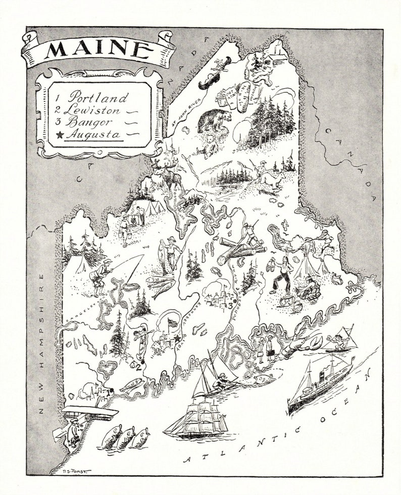 1950 s vintage animated maine state map print cartoon map etsy etsy
