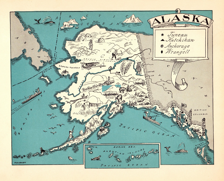 Alaska Map Poster Art Print Wall Decor Travel Map Office Home Gift Digital Prints Prints Safarni Org
