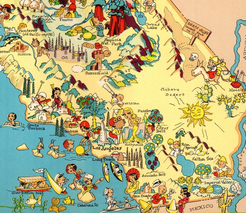 California Map Cartoon.1930 S Vintage California Picture Map State Cartoon Map Etsy